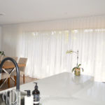 Sheer s-fold white curtains
