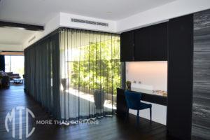 Black sheer s-fold curtains
