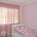 Pink box pleat sheer curtain & feature wall - Toongabbie 1