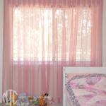 Pink box pleat sheer curtain
