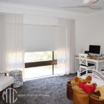 S-fold white sheer curtains with white blockout roller blind