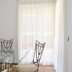 Box pleat sheer white curtains