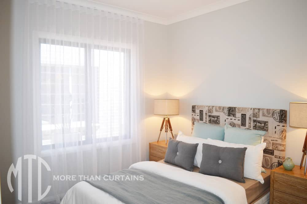 Sheer s-fold white curtains - Bellriver Homes Calderwood