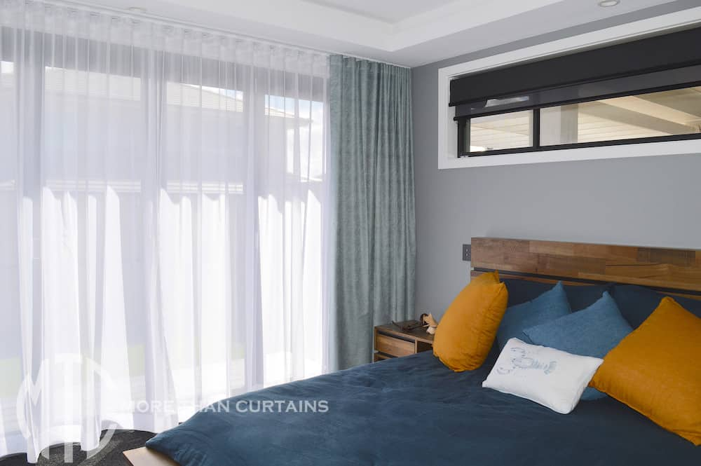 S-fold aqua curtains with white sheer
