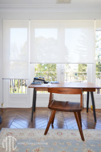 Screen roller blinds in home office