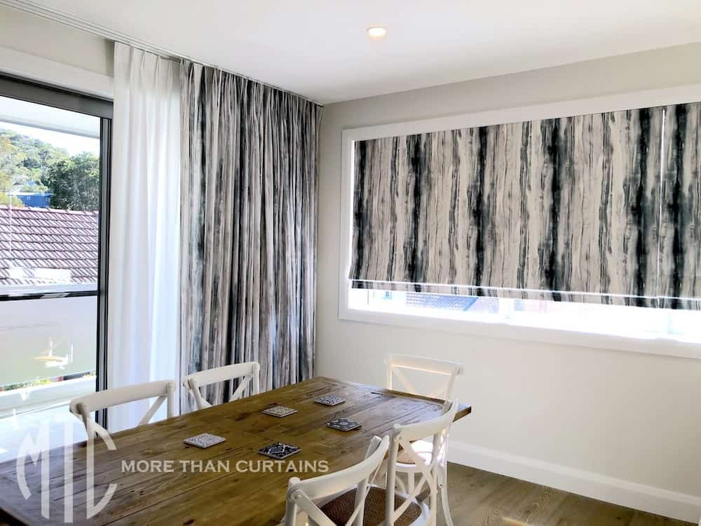Blue & grey watercolour curtain with matching Roman blind