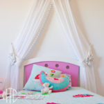 Kids' bed canopy pelmet & curtains with tiebacks
