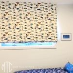 White fish pattern Roman blind
