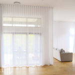 White double s-fold curtains