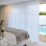White linen s-fold sheer curtain