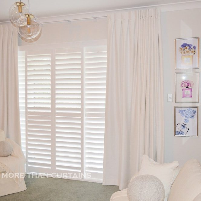 Box pleat curtains over shutters - Lane Cove 1 2