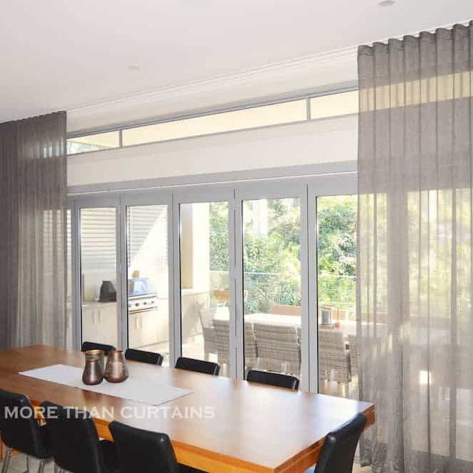 Bronze s-fold sheer curtains