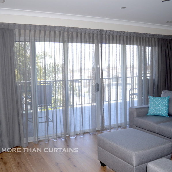 Grey sheer curtains with seperate blockout lining