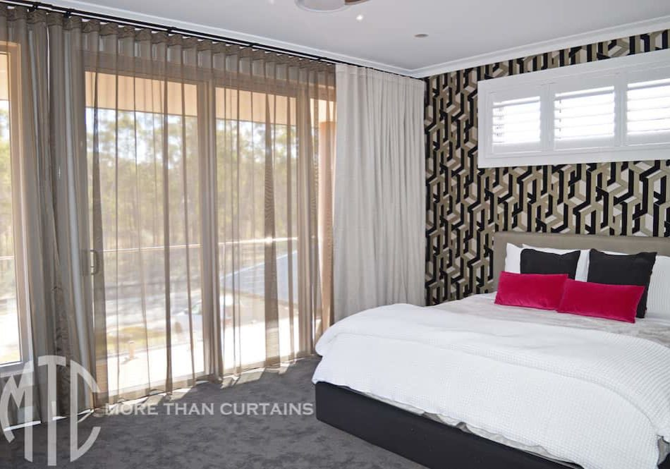 Silver blockout & bronze sheer double s-fold curtains