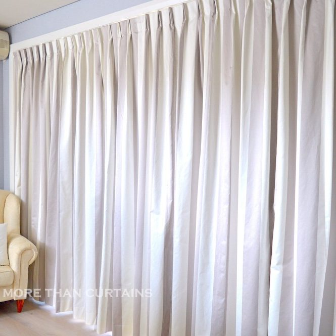 Lilac & white stripe Euro pleat curtains