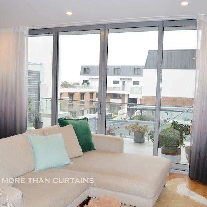 Charcoal ombré s-fold curtains