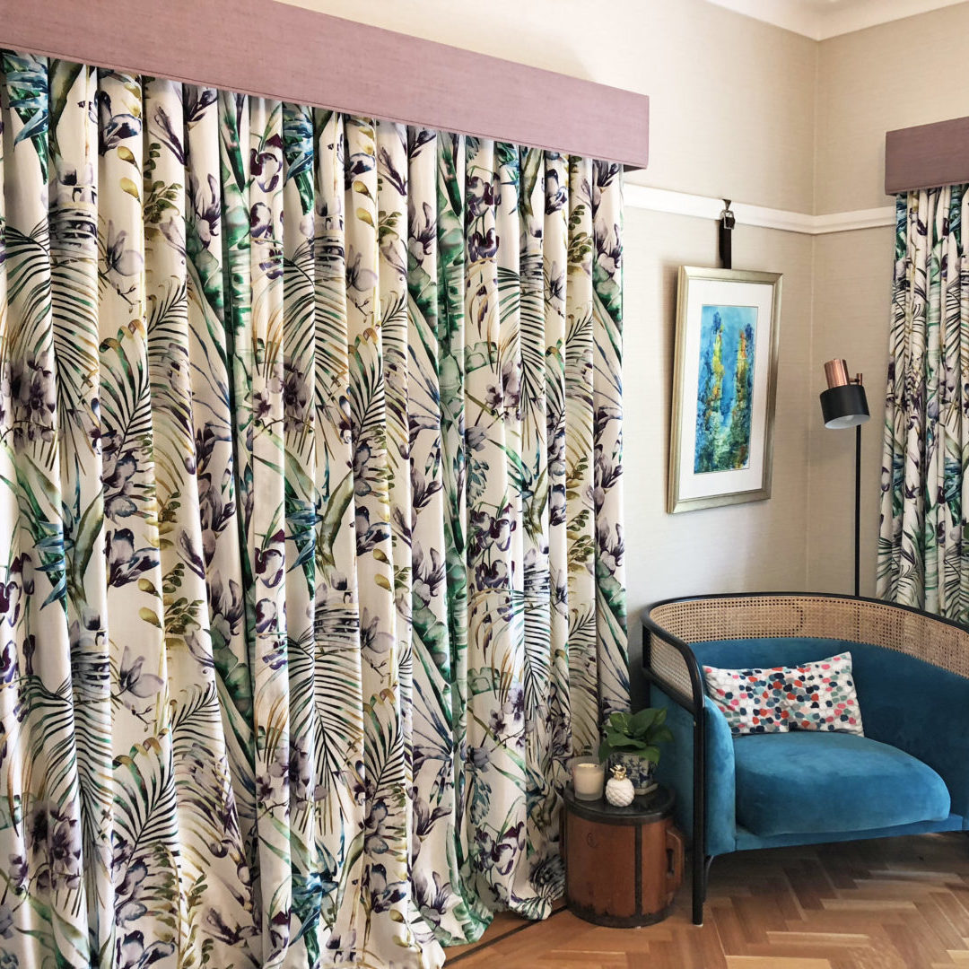Palm leaf patterned curtains with pelmet coordinate