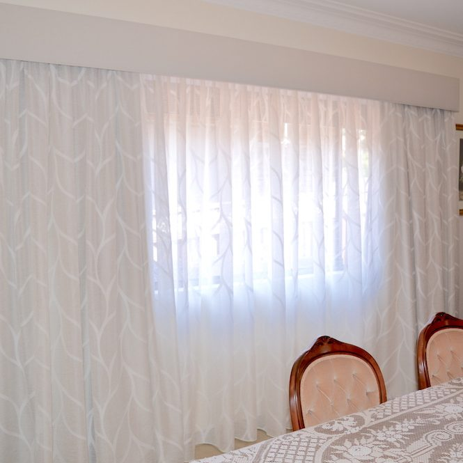 Patterned sheer curtains with blockout lining & Pelmet