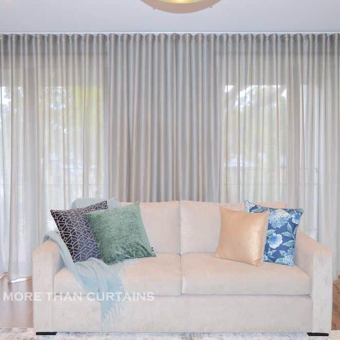 Silver s-fold sheer curtain