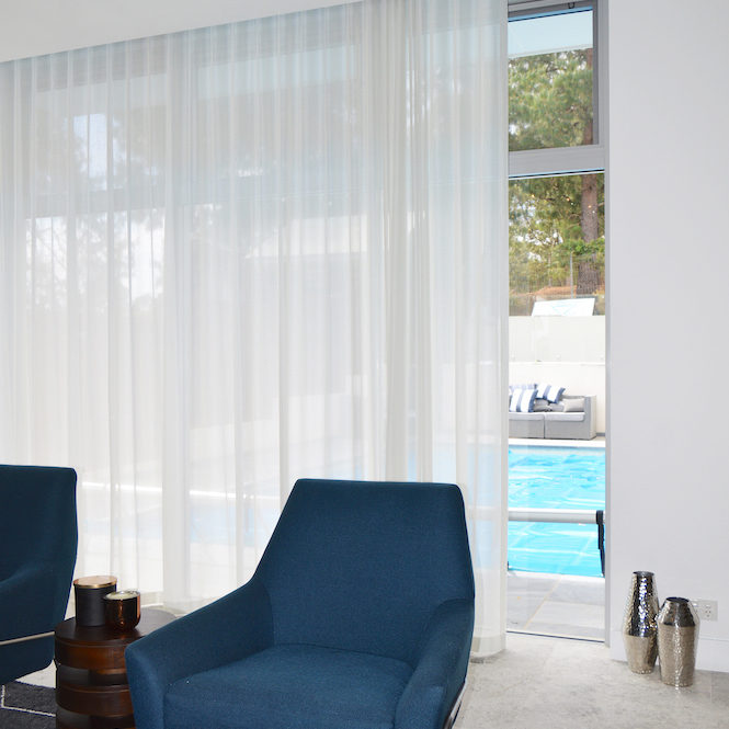 Translucent white s-fold curtains in a recess - North Rocks 6 2